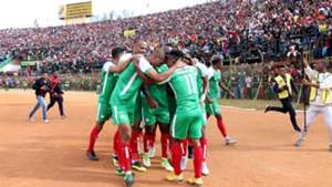 Madagascar players celebrate after scoring a goal against Senegal during their Africa Cup of Nations 2019 qualifier