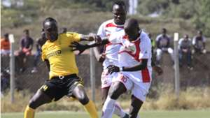 JOSEPH WAITHIRA Collins KISUYA of Homeboyz v MOSES MUDAVADI of Wazito FC.
