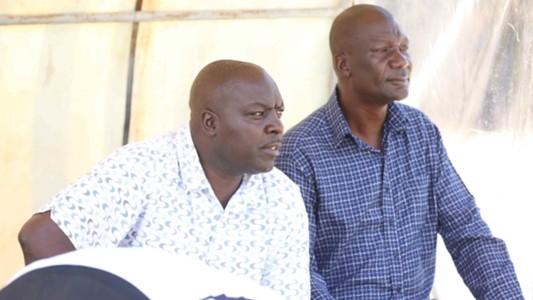 AFC Leopards coach Robert Matano and TM Gilbert Selebwa.