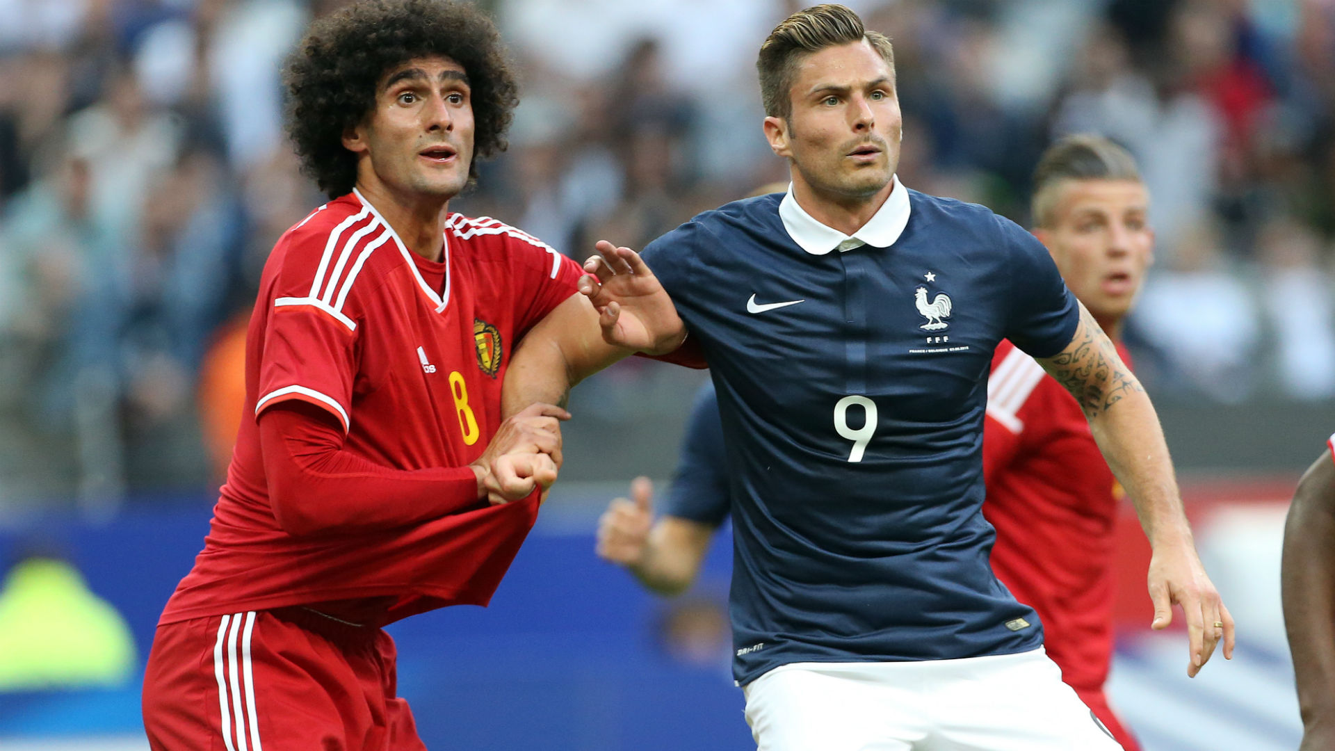 Olivier Giroud Marouane Fellaini France Belgium 2015