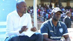 AFC Leopards coach Casa Mbungo and Lawrence Webo.