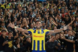 Pahang's Matheus Alves Leandro celebrating their win against T-Team with the fans 27/1/2017