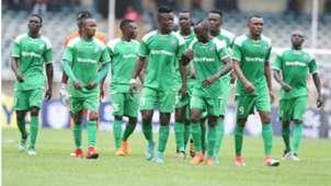 Gor Mahia players Ephraim Guikan Tuyisenge v AFC Leopards.