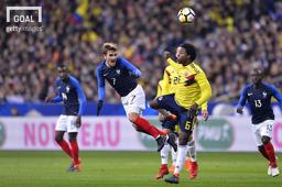 지난 24일 프랑스와 콜롬비아의 친선경기, 이 경기는 3-2 콜롬비아의 승리로 끝났다. 사진=게티이미지