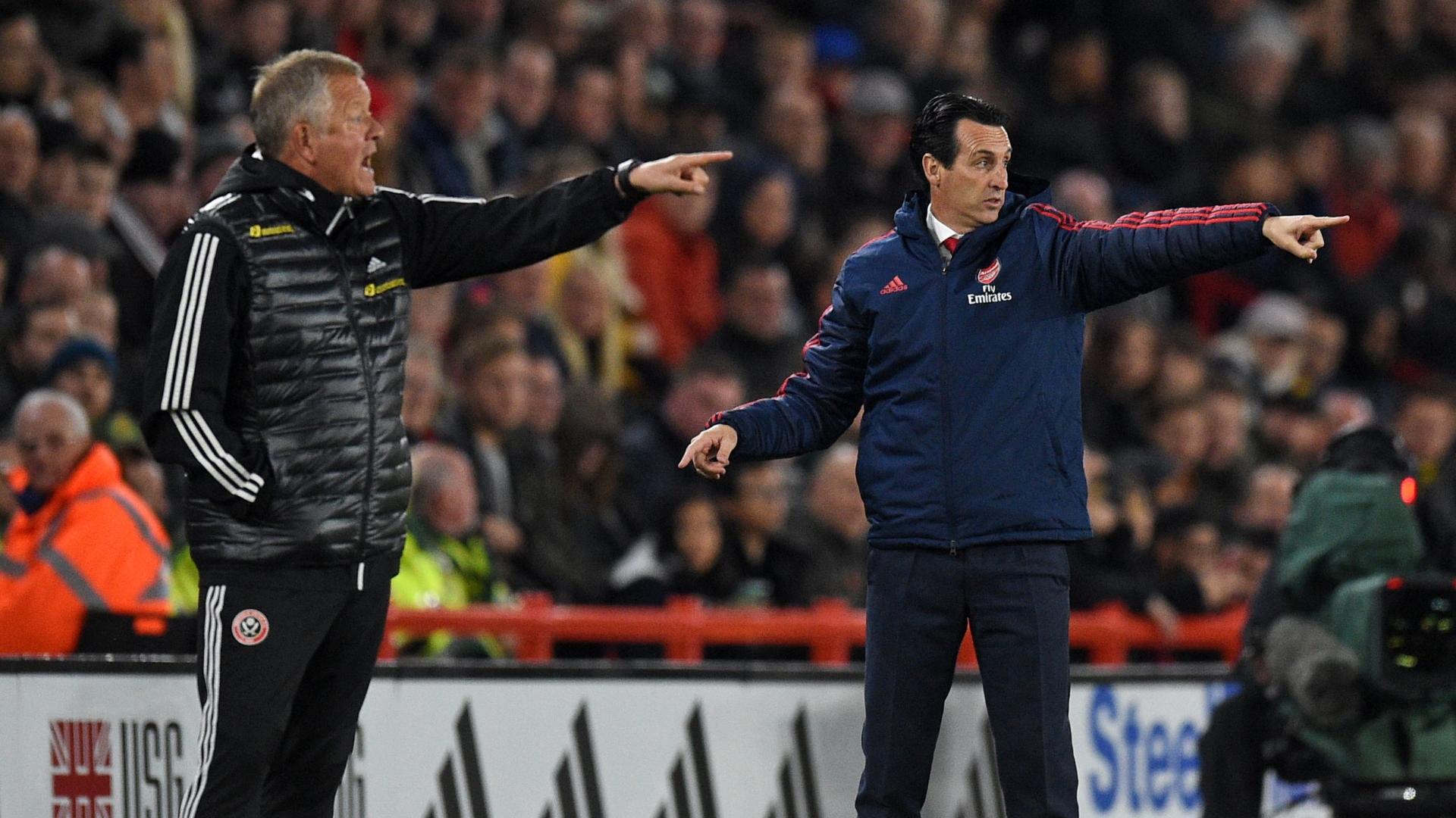 Chris Wilder, Unai Emery, Sheffield Utd vs Arsenal
