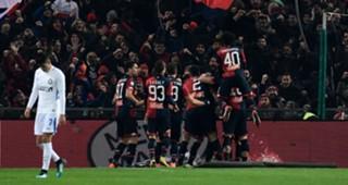 Genoa players celebrating Genoa Inter Serie A