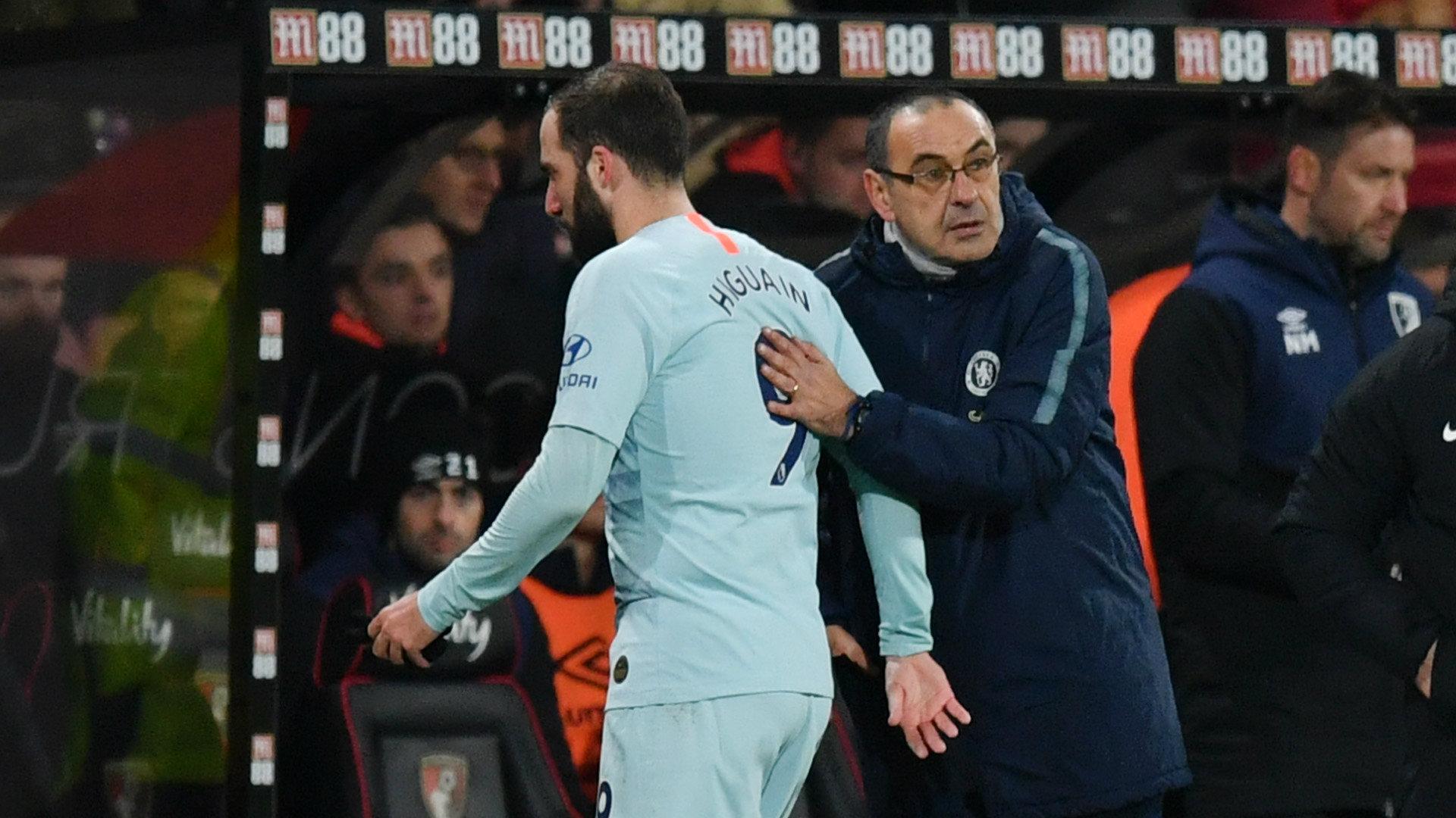 Gonzalo Higuain Maurizio Sarri Bournemouth vs Chelsea Premier League 2018-19
