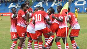 Harambee Starlets celebrates against Ethiopia
