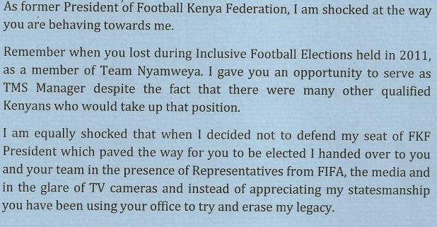 Nyamweya open letter to Mwendwa 1