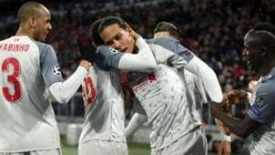 Liverpool celebrate Van Dijk's goal vs Bayern 2018-19