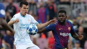Chucky Lozano Samuel Umtiti Barcelona PSV 180918