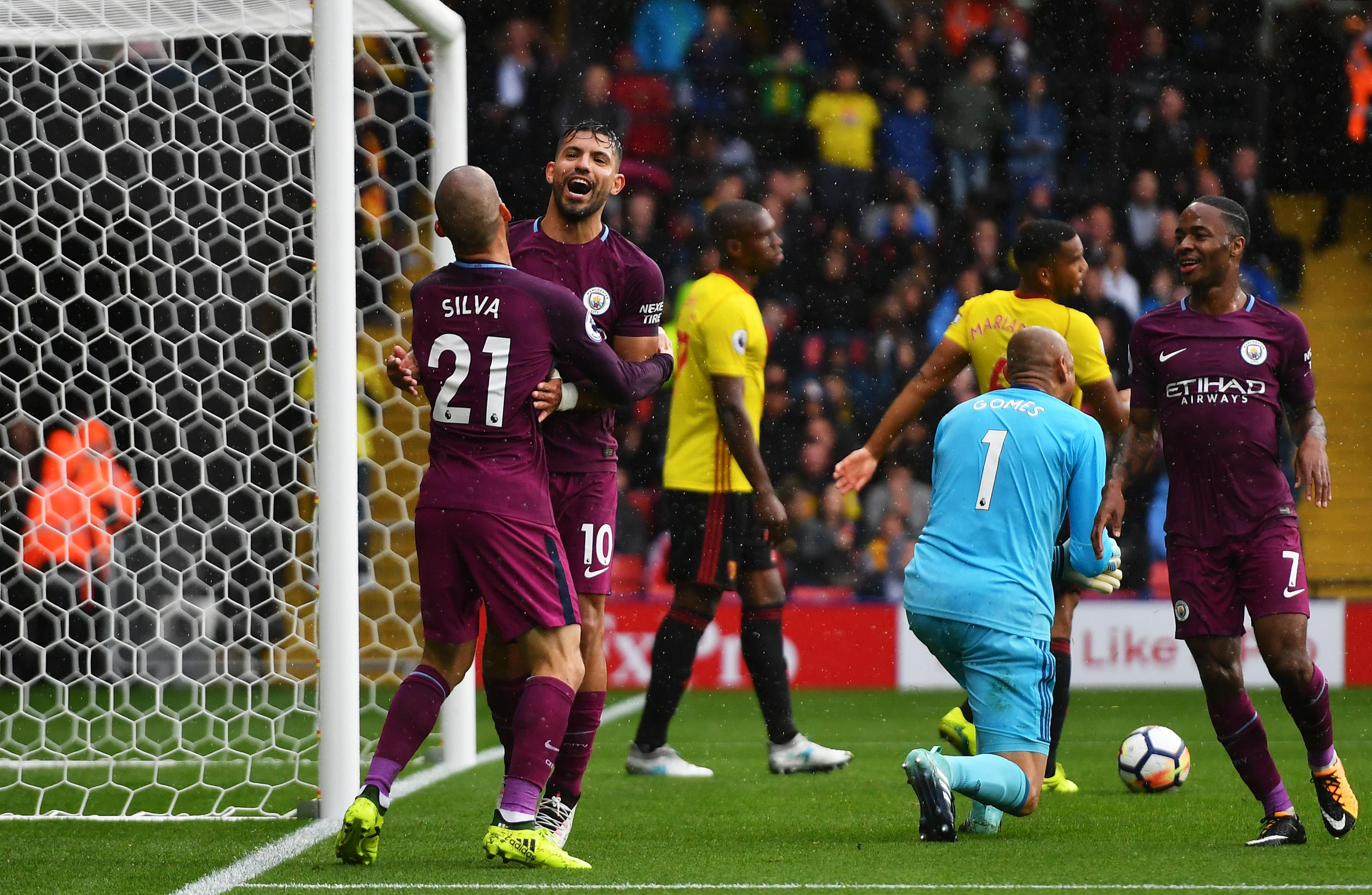 Sergio Aguero David Silva Watford Manchester City Premier League