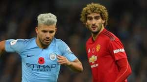 Sergio Aguero Marouane Fellaini Manchester City Manchester United 2018-19