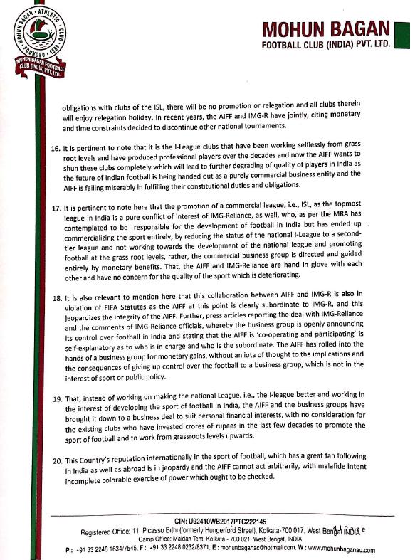 Page 4 - Mohun Bagan letter to PM Modi