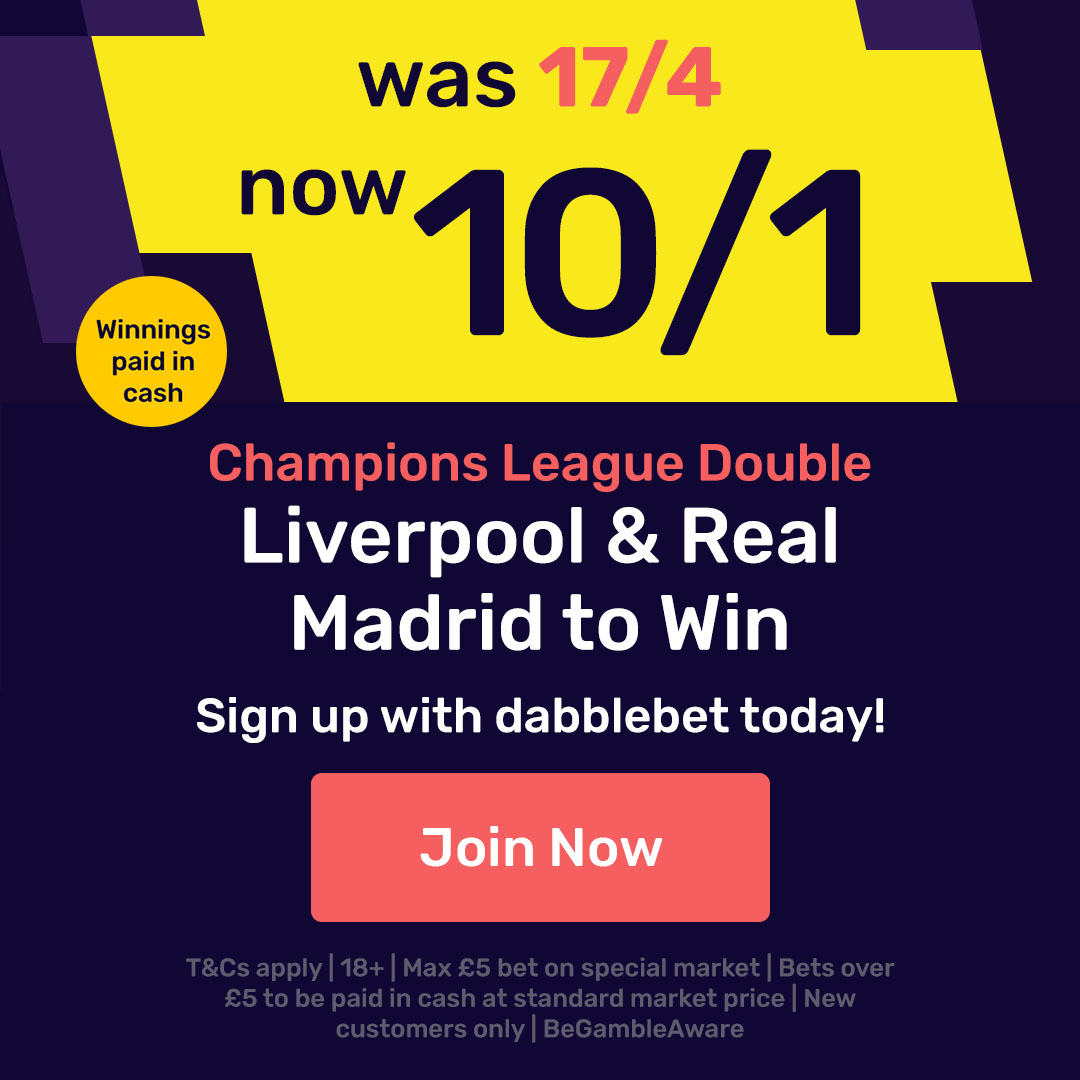 dabblebet new customer offer Real Madrid and Liverpool double at 10/1
