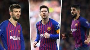 Gerard Pique, Lionel Messi, Luis Suarez