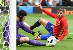 Petr Cech Alvaro Morata Spain Czech Republic Euro 2016