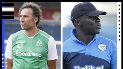 Gor Mahia coach Hassan Oktay and John Baraza of Sofapaka.