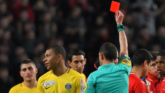 Image result for VIDEO: VAR review results in Mbappe's first career red card