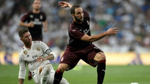 Sergio Ramos Gonzalo Higuain Real Madrid Milan Friendlies 08112018