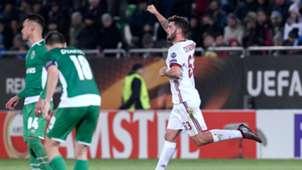 Patrick Cutrone celebrating Ludogorets Milan UEFA Europa League 02152018