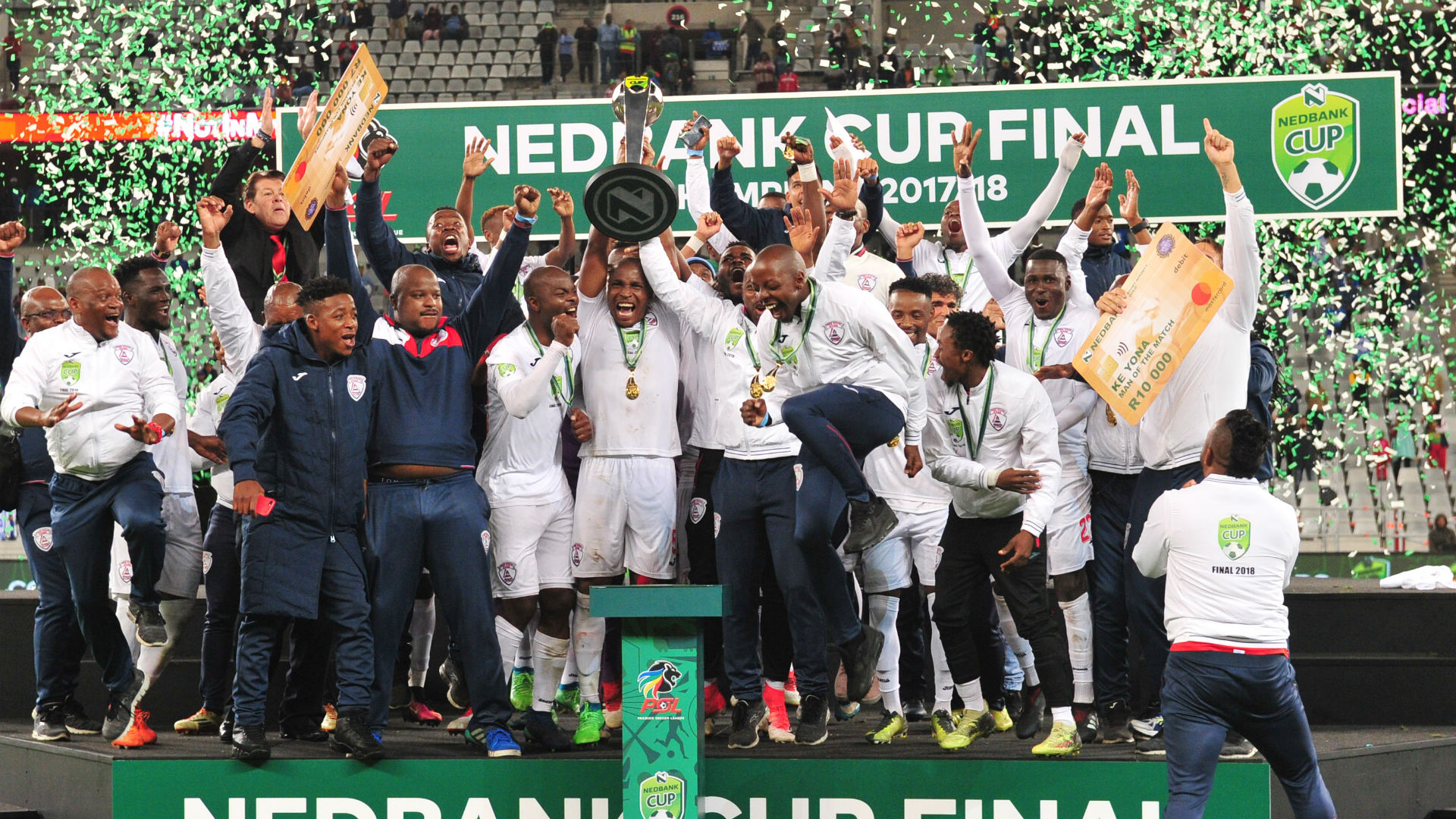 Free State Stars players with Nedbank Cup, May 2018