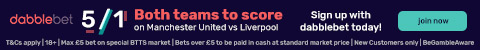 dabblebet footer 5/1 Man United Liverpool BTTS