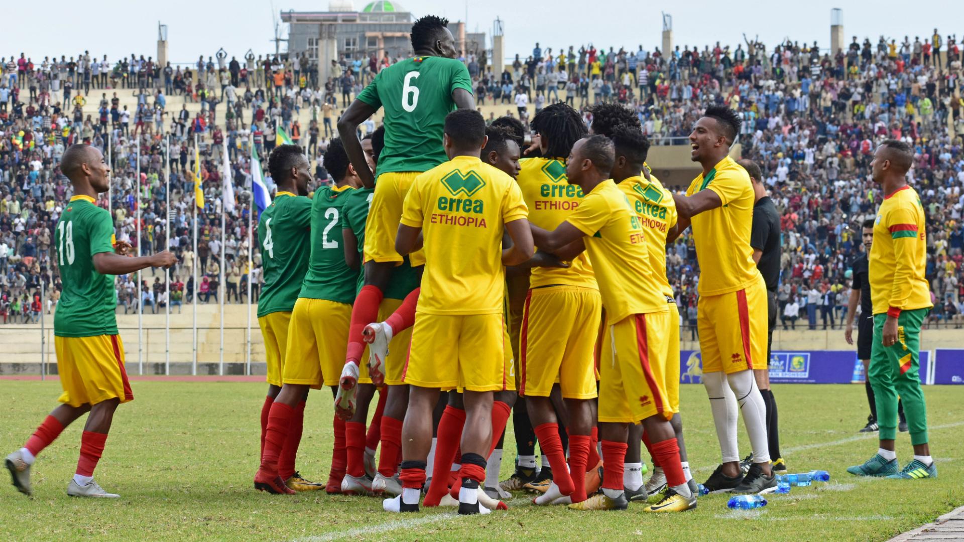 Ethiopia squad celebrates.