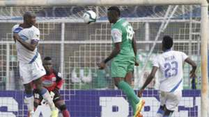 Haroun Shakava heads at Thika goal.