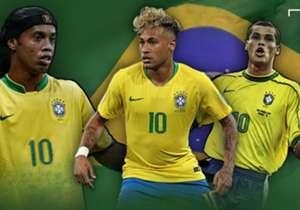 2018 in Russland trägt sie wieder Neymar, die berühmte Nummer zehn. Goal blickt auf die WM-Zehner Brasiliens seit 1982 zurück.