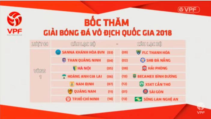 Lịch V.League 2018