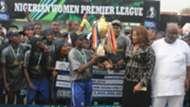 Joy Jerry recieves NWPL trophy for Bayelsa Queens