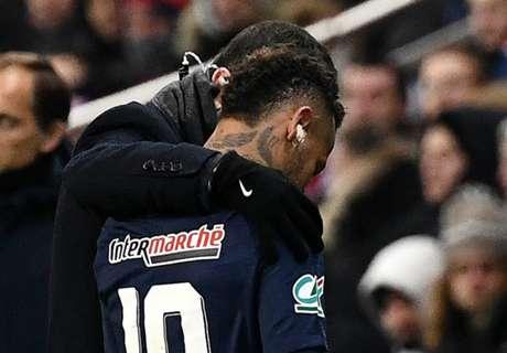 Neymar in tears after suffering foot injury