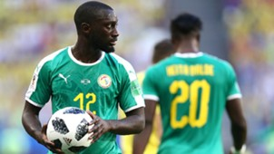 Youssouf Sabaly of Senegal before a throw in during the 2018 FIFA World Cup Russia group H match between Senegal and Colombia