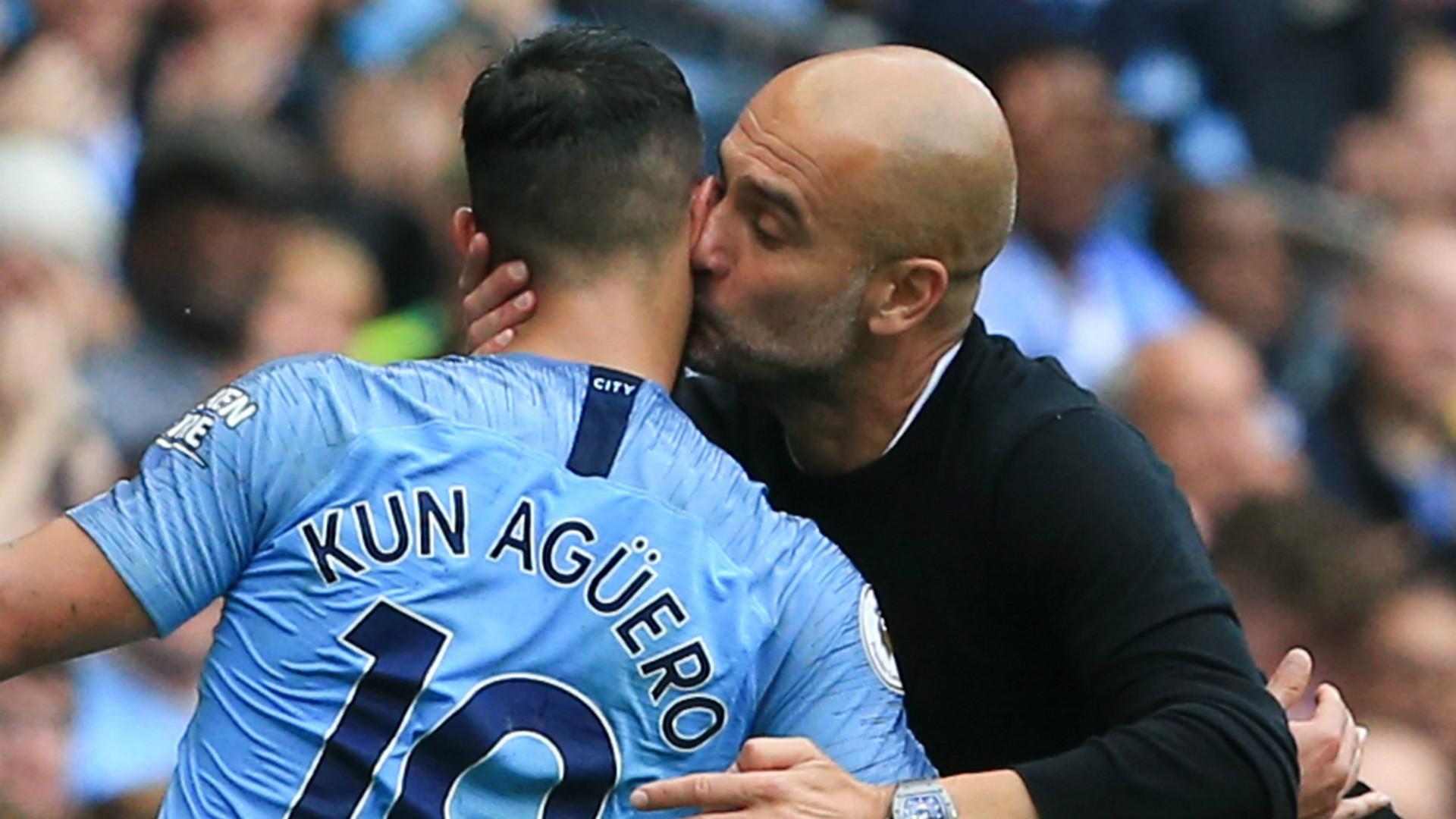 Sergio Aguero Pep Guardiola Manchester City 2018-19