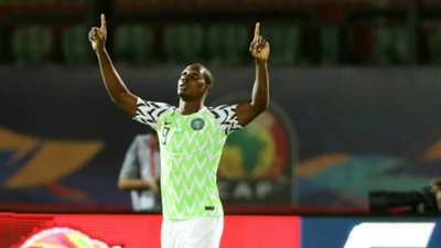 Odion Ighalo of Nigeria celebrates a goal during the 2019 Africa Cup of Nations Finals, 3rd and 4th place match