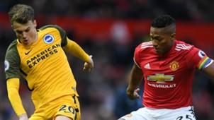 Antonio Valencia, Manchester United, Solly March, Brighton and Hove Albion