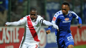 Katlego Mashego of Free State Stars v Thabo Mnyamane of SuperSport United