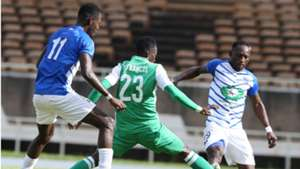 Francis Mustafa of Gor Mahia takes on Lobi Stars of Nigeria.