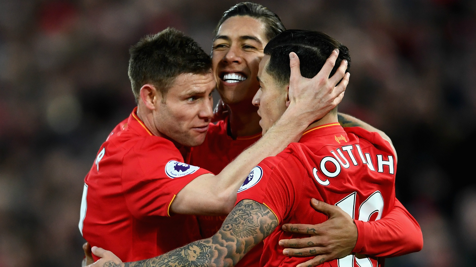 HD Milner Coutinho Firmino Liverpool celebrate