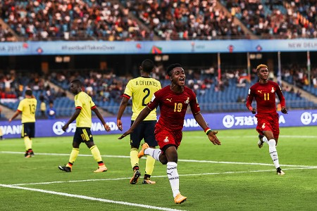 Sadiq Ibrahim celebrates his goal against Colombia