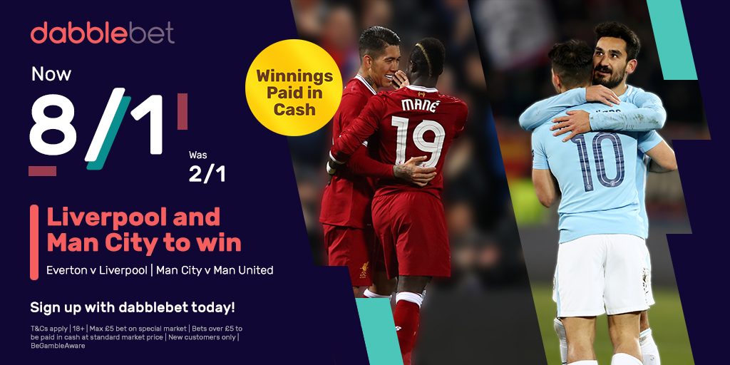 dabblebet offer 8/1 Man City Liverpool double