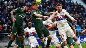 Lucas Tousart Mathieu Debuchy Lyon Saint-Etienne Ligue 1 25022018
