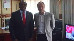 Ambassodor Kaberia and Harambee Stars coach Sebastien Migne.