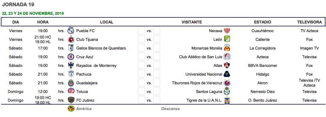 Liga Bbva Calendario Y Resultados.Cual Es El Calendario Del Apertura 2019 De La Liga Mx Goal Com