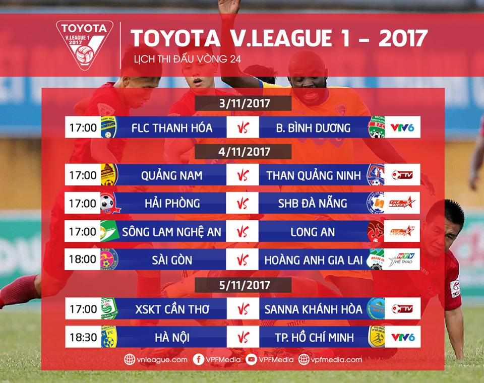 Lịch thi đấu vòng 24 V.League 2017