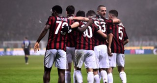Milan players celebrating Milan Lazio Serie A