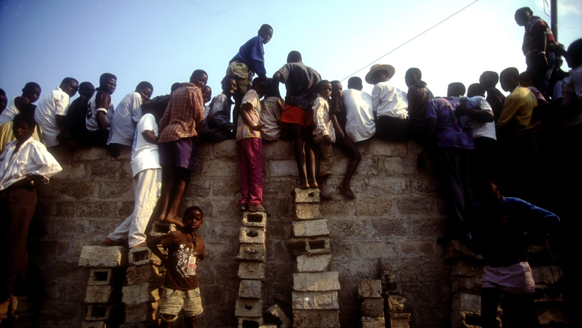 Fans watch the Zambian team play in 1993