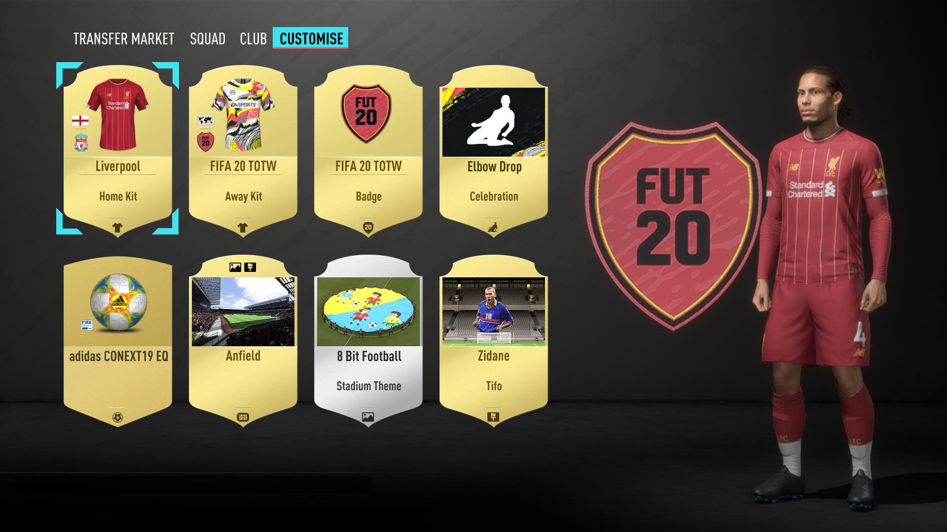Customise Screen FIFA 20 Ultimate Team