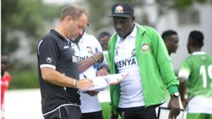 Sebastien Migne and John Kamau of Kenya and Harambee Stars.